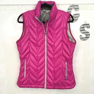 Eddie Bauer pink goose down puffer vest L